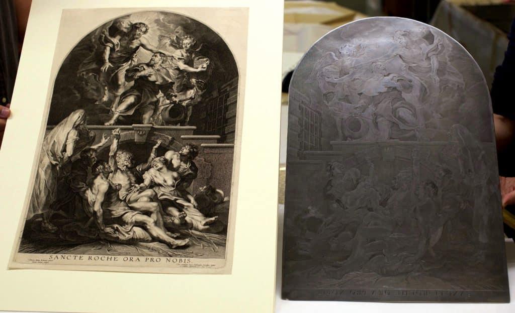 """gravure en koperplaat van """"Sint-Rochus en de pestlijders"""""""