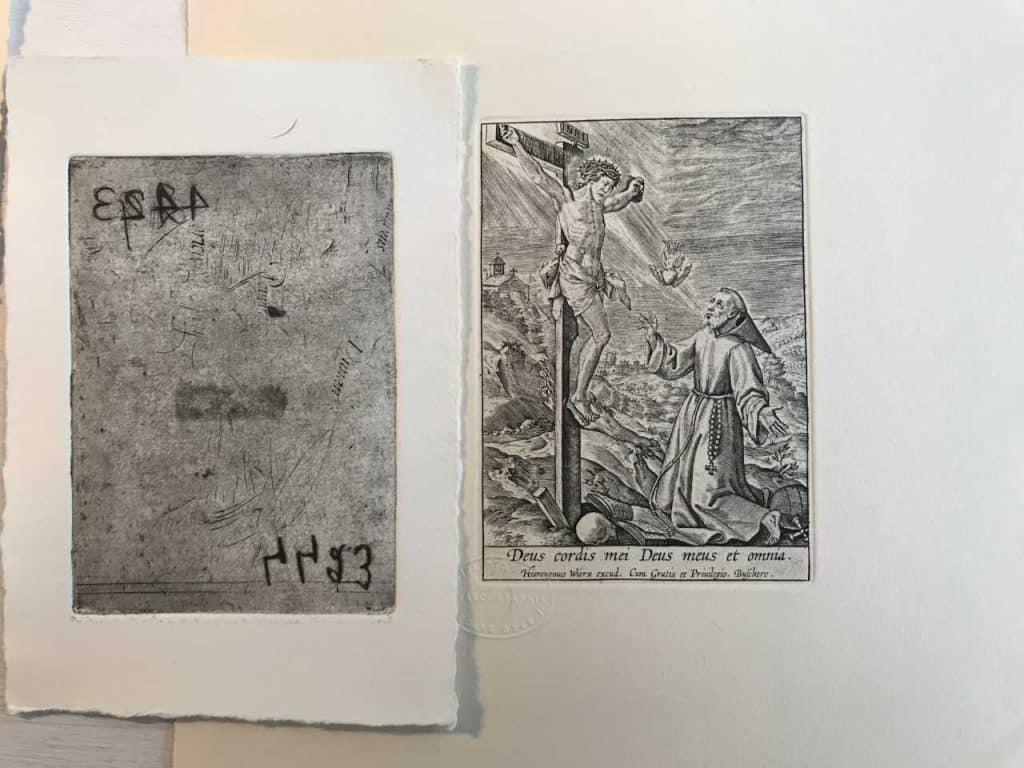 Plaque et estampe de St François d'Assises