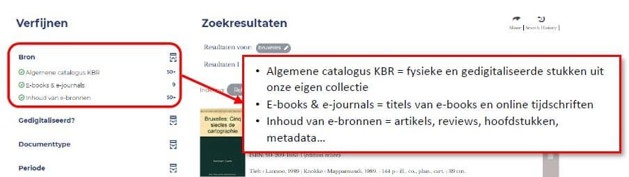 toelichting bij de filteropties in de catalogus